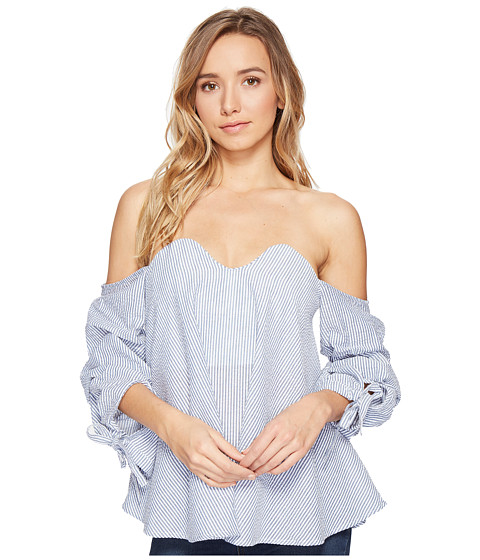 Imbracaminte Femei Romeo Juliet Couture Off Shoulder Stripe Tope with Bow Detail BlueWhite