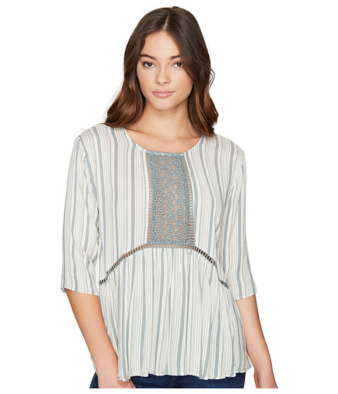 Imbracaminte Femei Romeo Juliet Couture 34 Sleeve Stripe Top with Lace Dusty Sage