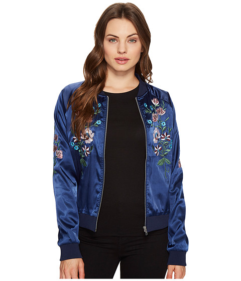 Imbracaminte Femei Romeo Juliet Couture Flower Embroidered Varsity Jacket Navy