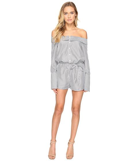 Imbracaminte Femei Romeo Juliet Couture Long Sleeve Stripe Off Shoulder Romper Black