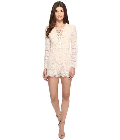 Imbracaminte Femei Romeo Juliet Couture Long Sleeve Lace-Up All Over Romper Canvas