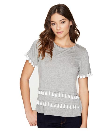 Imbracaminte Femei Romeo Juliet Couture Short Sleeve Double Layer Tassel Top Heather Grey