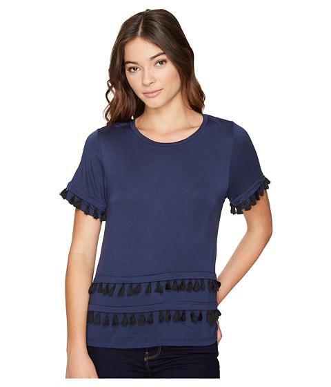 Imbracaminte Femei Romeo Juliet Couture Short Sleeve Double Layer Tassel Top Navy