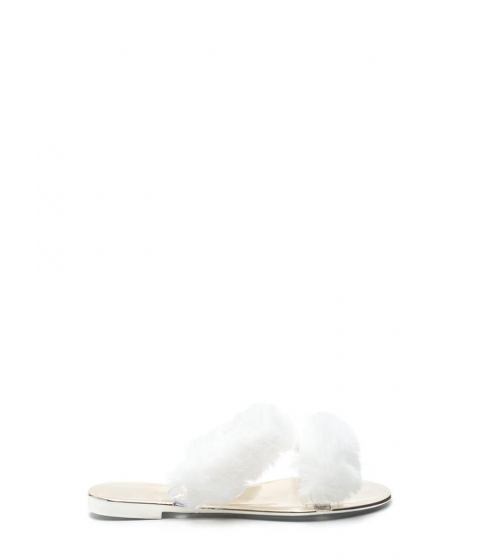 Incaltaminte Femei CheapChic Double Up Furry Strap Jelly Sandals White