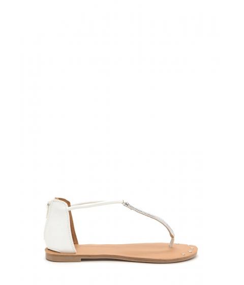 Incaltaminte Femei CheapChic Gleam Come True Studded T-strap Sandals White