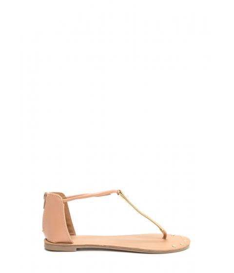 Incaltaminte Femei CheapChic Gleam Come True Studded T-strap Sandals Blush