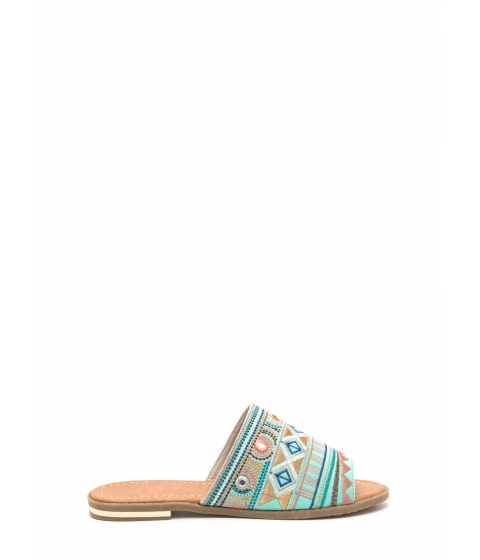 Incaltaminte Femei CheapChic In Shapes Embroidered Slip-on Sandals Mint