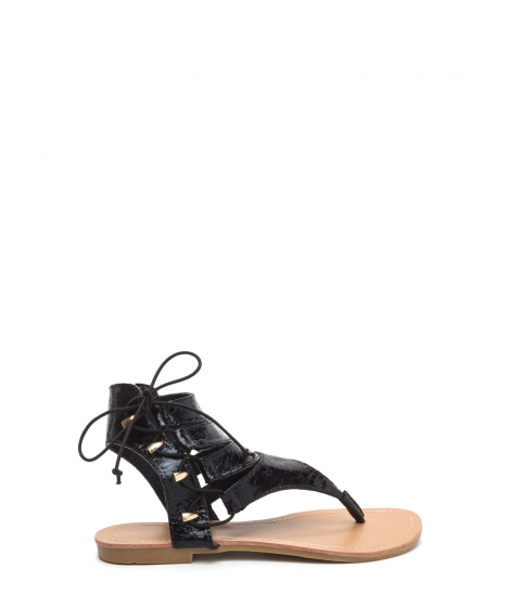 Incaltaminte Femei CheapChic On The Side Crackled Lace-up Sandals Black