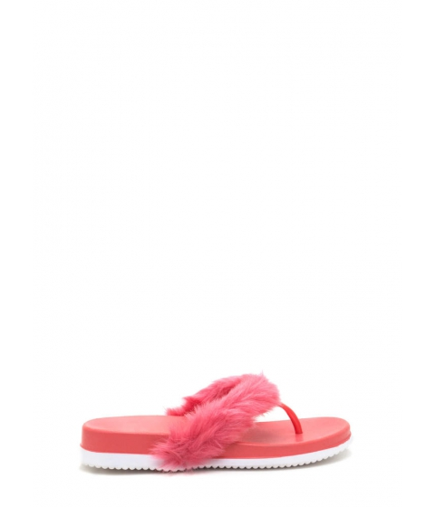 Incaltaminte Femei CheapChic Once And Fur All Jelly Thong Sandals Coral