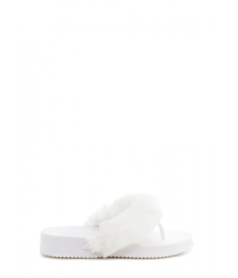 Incaltaminte Femei CheapChic Once And Fur All Jelly Thong Sandals White