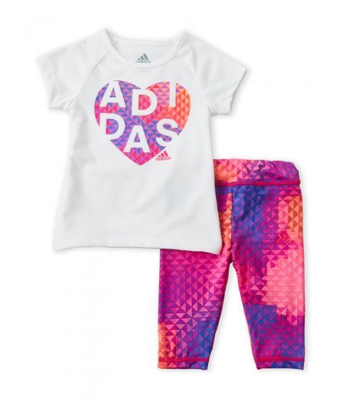Imbracaminte Fete adidas (Toddler Girls) Two-Piece Raglan Tee Printed Leggings Set White