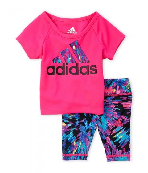 Imbracaminte Fete adidas (Toddler Girls) Two-Piece Raglan Logo Tee Leggings Set Shock Print