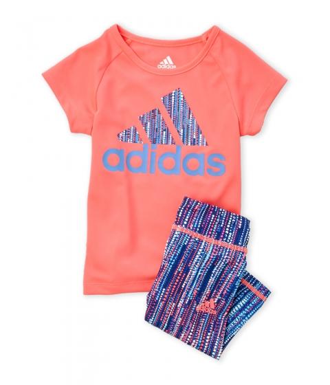 Imbracaminte Fete adidas (Toddler Girls) Two-Piece Neon Coral Logo Tee Printed Leggings Set Neon Coral