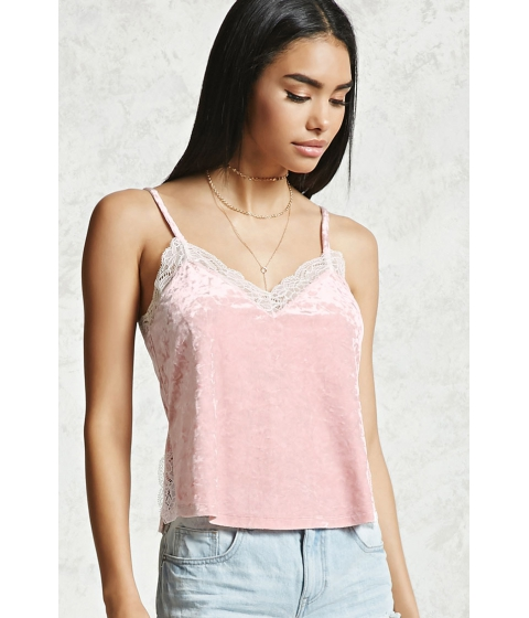 Imbracaminte Femei Forever21 Lace Trim Crushed Velvet Cami Pink