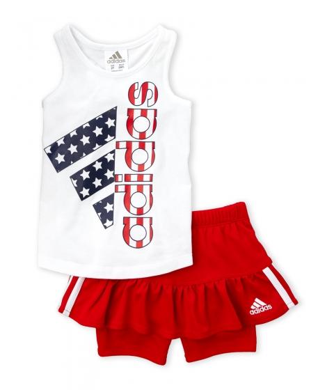 Imbracaminte Fete adidas (Newborn Girls) Two-Piece White USA Logo Tank Red Skort Set White Multi