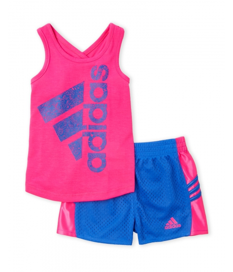 Imbracaminte Fete adidas (Infant Girls) Two-Piece Pink Logo Tank Blue Perforated Shorts Set Pink Blue