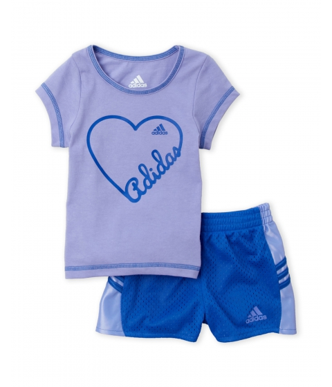 Imbracaminte Fete adidas (NewbornInfant Girls) Two-Piece Logo Tee Perforated Shorts Set Light Purple