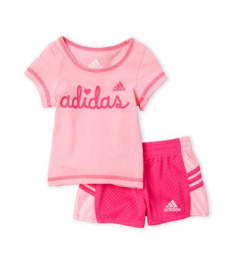 Imbracaminte Fete adidas (NewbornInfant Girls) Two-Piece Logo Tee Perforated Shorts Set Cotton Candy