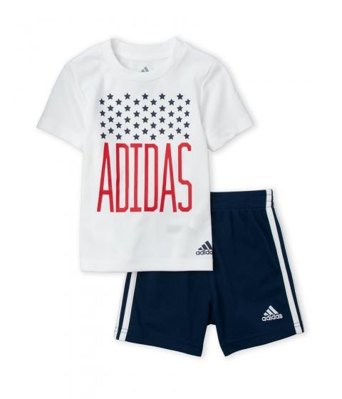 Imbracaminte Baieti adidas (Infant Boys) Two-Piece White Logo Tee Navy Shorts Set White Navy