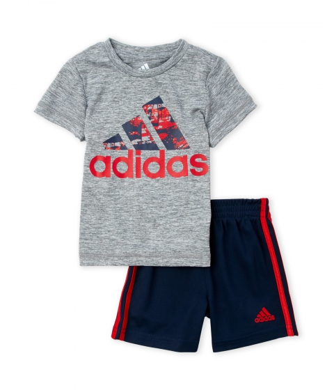 Imbracaminte Baieti adidas (Infant Boys) Two-Piece Grey Logo Tee Navy Shorts Set Grey Navy