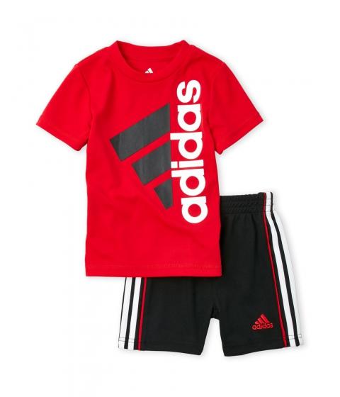 Imbracaminte Baieti adidas (Infant Boys) Two-Piece Red Logo Tee Black Shorts Set Red Black