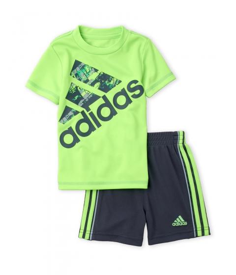Imbracaminte Baieti adidas (Infant Boys) Two-Piece Neon Green Logo Tee Grey Shorts Set Neon Green Grey