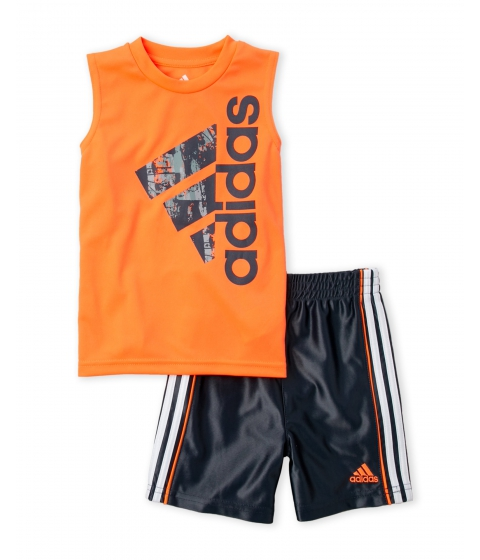Imbracaminte Baieti adidas (Infant Boys) Two-Piece Orange Graphic Tank Grey Basketball Shorts Set Orange Grey