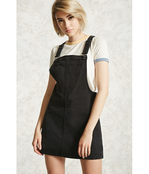 Imbracaminte Femei Forever21 Denim Overall Mini Dress Black