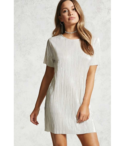 Imbracaminte Femei Forever21 Metallic Pleated Shift Dress Champagne