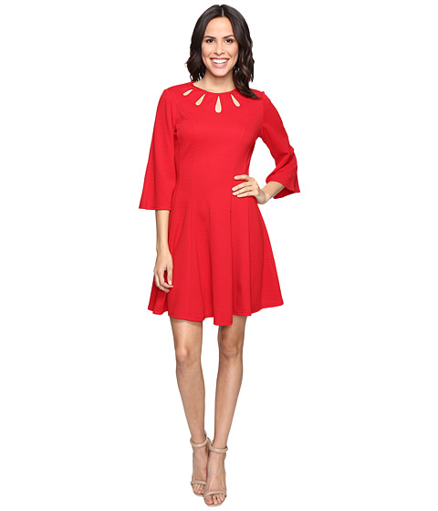 Imbracaminte Femei Christin Michaels Brielle Bell Sleeve Dress with Neckline Detail Red
