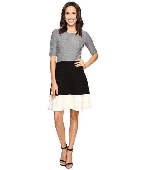 Imbracaminte Femei Christin Michaels Kaira Color Block Fit and Flare Sweater Dress GreyBlackWhite
