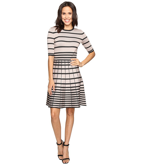 Imbracaminte Femei Christin Michaels Namana Striped Fit and Flare Dress TaupeBlack