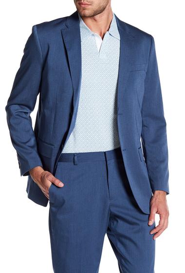 Imbracaminte Barbati Perry Ellis Blue Sharkskin Two Button Notch Lapel Blazer 464 BAY BLUE