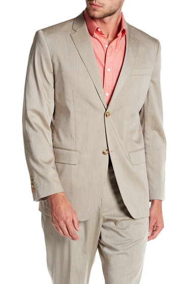 Imbracaminte Barbati Perry Ellis Beige Sharkskin Two Button Notch Lapel Blazer 270 NATURAL LINEN