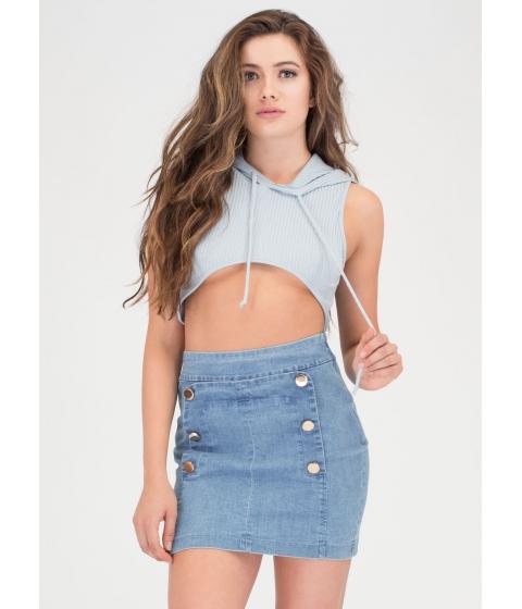 Imbracaminte Femei CheapChic Bits 'n Pieces High-low Denim Miniskirt Blue