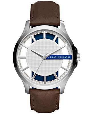 Ceasuri Barbati Armani Exchange Men's Dark Brown Leather Strap Watch 46mm Silver with cut-through index ring