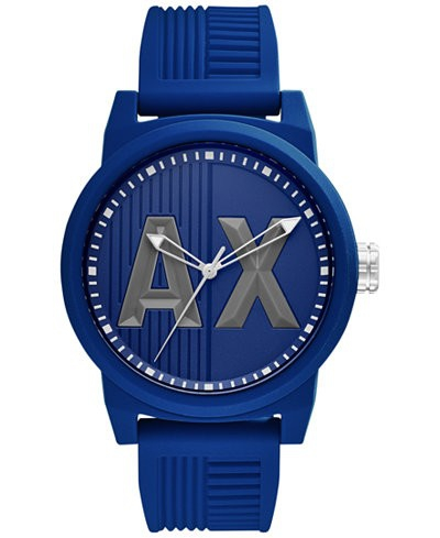 Ceasuri Barbati Armani Exchange ATLC Red Silicone Strap Men's Watch Blue Matte