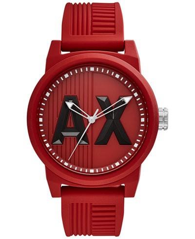 Ceasuri Barbati Armani Exchange ATLC Red Silicone Strap Men's Watch Red Matte