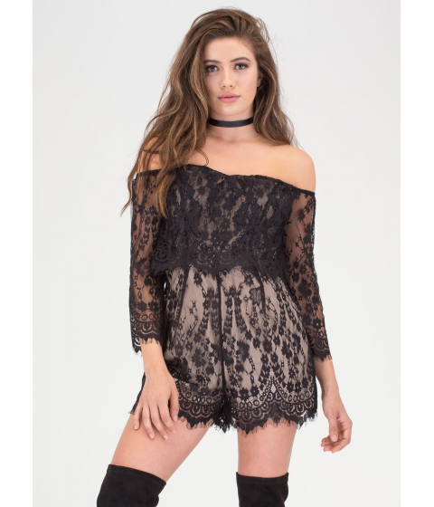 Imbracaminte Femei CheapChic Lace Forward Off-shoulder Romper Black