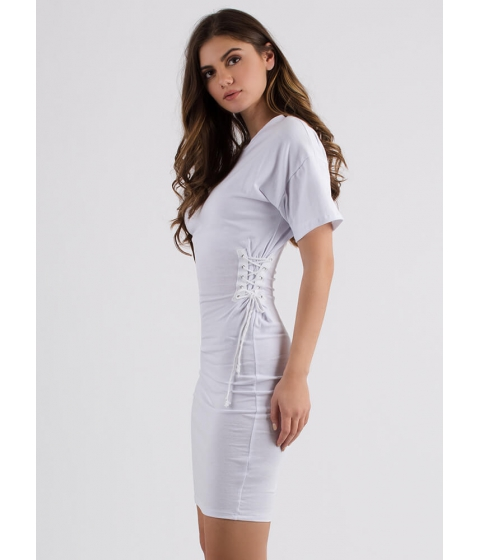 Imbracaminte Femei CheapChic Two On The Side Lace-up Midi Dress White