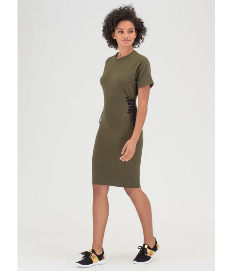 Imbracaminte Femei CheapChic Two On The Side Lace-up Midi Dress Olive