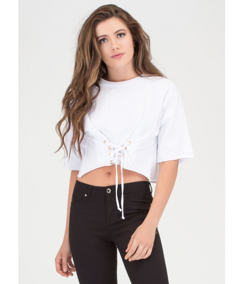 Imbracaminte Femei CheapChic Yes Of Corset Lace-up Crop Top White