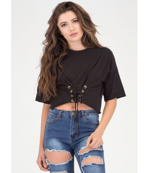Imbracaminte Femei CheapChic Yes Of Corset Lace-up Crop Top Black