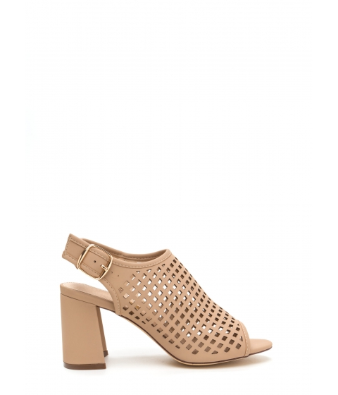 Incaltaminte Femei CheapChic Were Square Cut-out Chunky Heels Nude