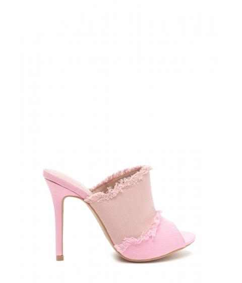 Incaltaminte Femei CheapChic Two-tone Step Frayed Mule Heels Pink
