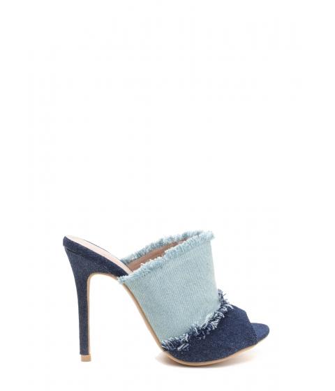 Incaltaminte Femei CheapChic Two-tone Step Frayed Mule Heels Blue