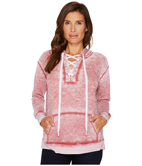 Imbracaminte Femei Allen Allen Long Sleeve Lace Front Pullover Hoodie Cranberry
