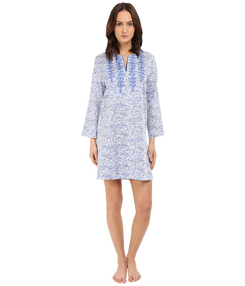 Imbracaminte Femei Oscar de la Renta Cotton Sateen Sleepshirt Blue Linear Reflection