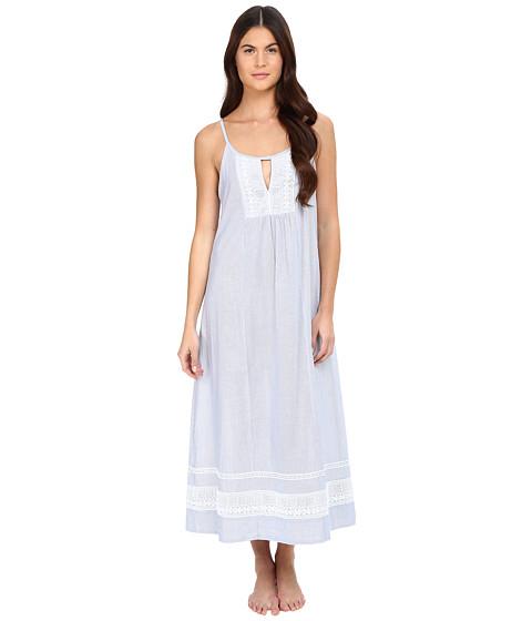Imbracaminte Femei Oscar de la Renta Yarn Dye Stripe Cotton Woven Long Gown WhiteBlue Stripe