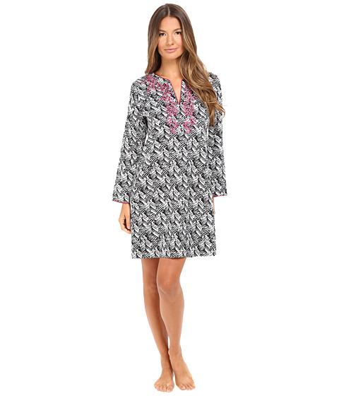Imbracaminte Femei Oscar de la Renta Printed Cotton Sateen Sleepshirt BlackWhite Herrinbone Stripe
